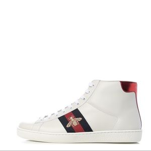 """Gucci """"Miro'Soft"""" White Leather Hi-Top Sneakers"""